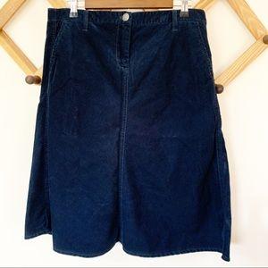 J Crew Corduroy Blue A Line Skirt  Size 10